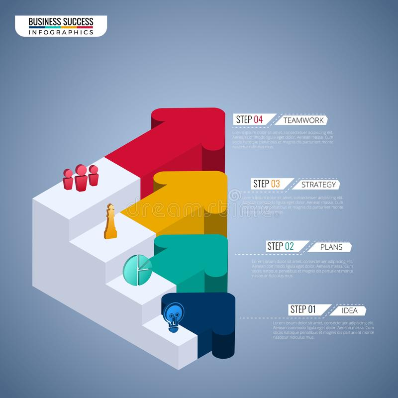 Colorful 3D arrow graph stair step to success business concept infographic template. Can be used for workflow layout, diagram stock illustration