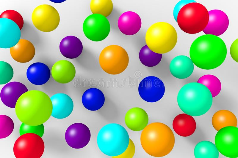 Colorful 3D balls on a white background. royalty free illustration