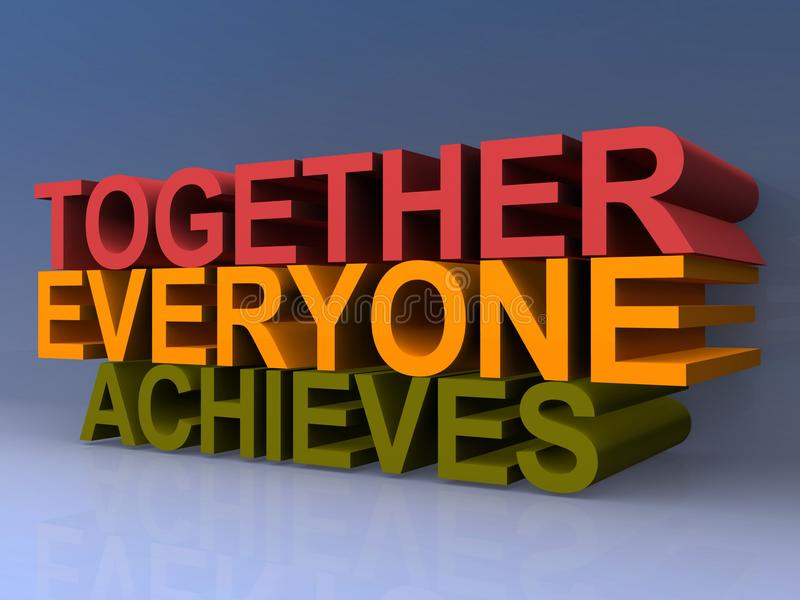 Together everyone achieves. Colorful 3D block letters spelling together everyone achieves on purple background royalty free illustration