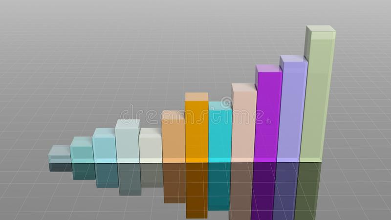 Colorful 3D business bar. Chart infographic vector illustration