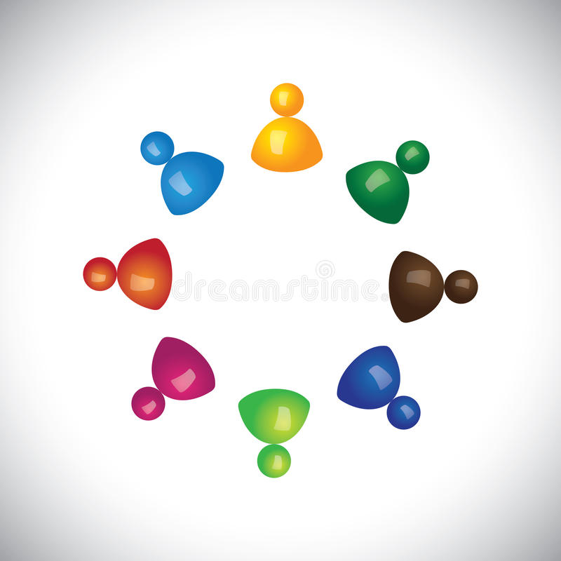Colorful 3d children or kids playing together and having fun stock illustration
