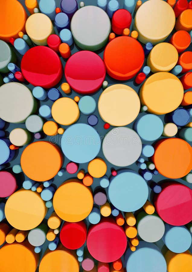 Colorful 3d circle. Colorful 3d cirlcle for kids background. 3D rendering stock illustration