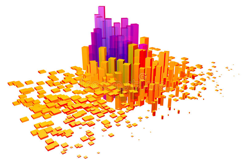 Colorful 3D cubes and shapes vector illustration