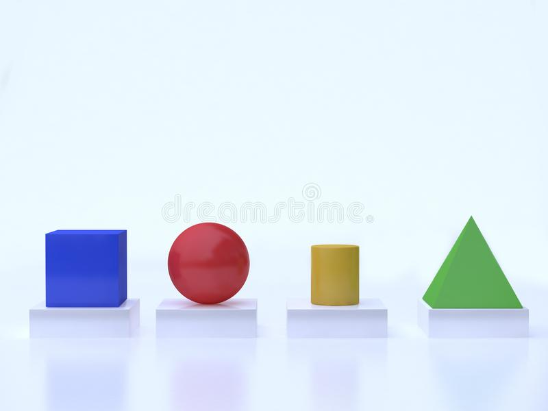 Colorful geometric shape form cube sphere cylinder pyramid floor reflection white background 3d rendering stock illustration