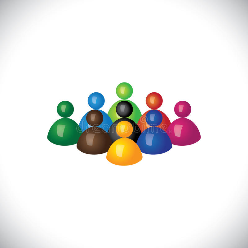 Colorful 3d group of diverse & united people icons stock illustration