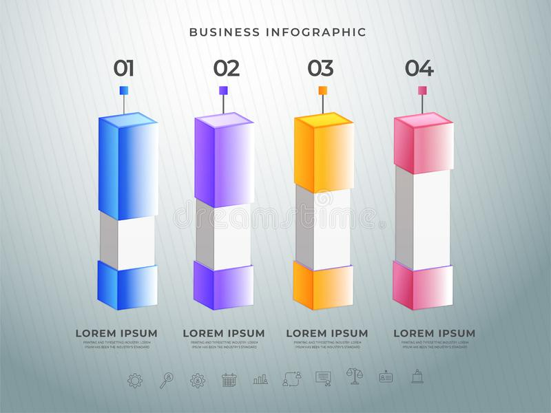 Colorful 3D infographic bar with your step numbers on grid background. Colorful 3D infographic bar with your step numbers on grid background, Business vector illustration