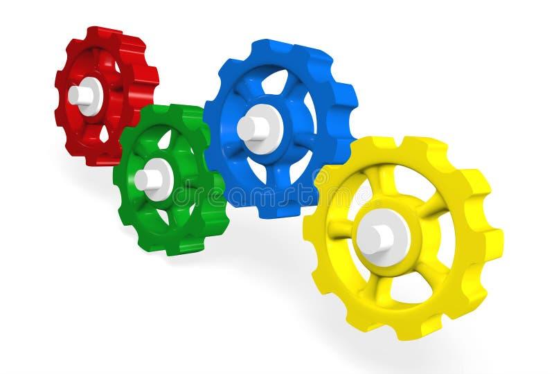 Colorful 3D interlocking gears vector illustration