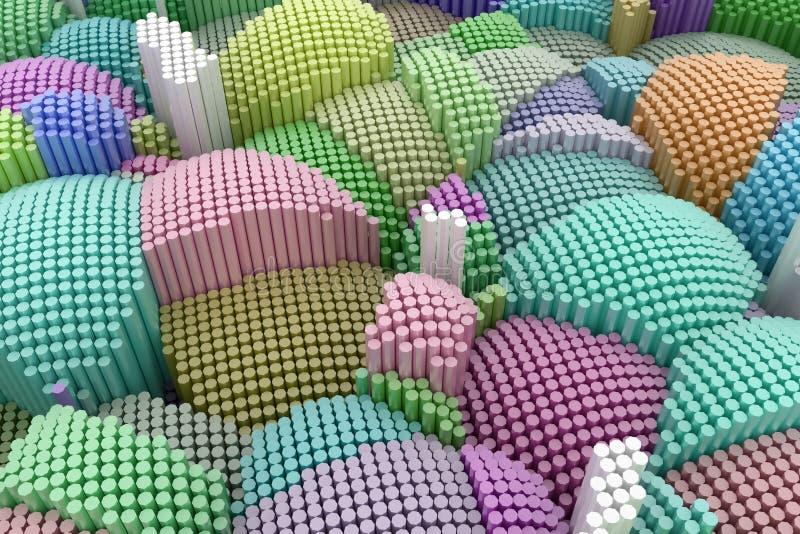 Colorful 3D rendering. Decorative, illustrations shape composition, geometric structure block, for design texture background. stock illustration