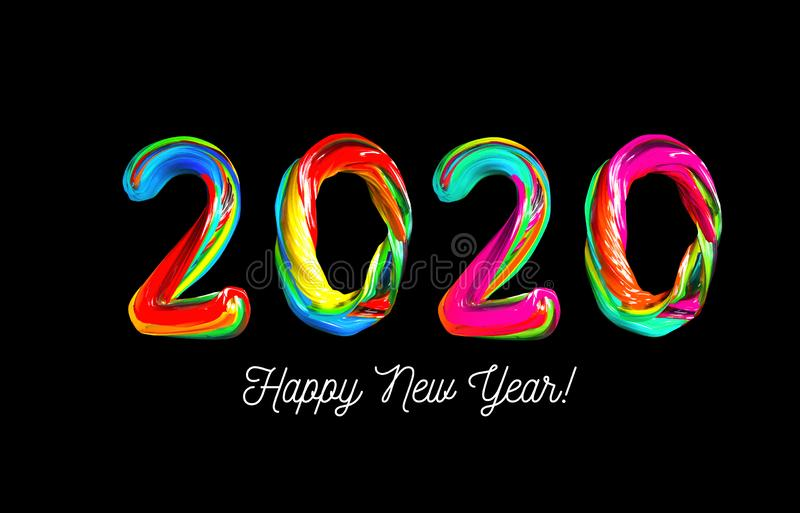 Colorful 3d text 2020. Congratulations on the new year 2020 royalty free illustration