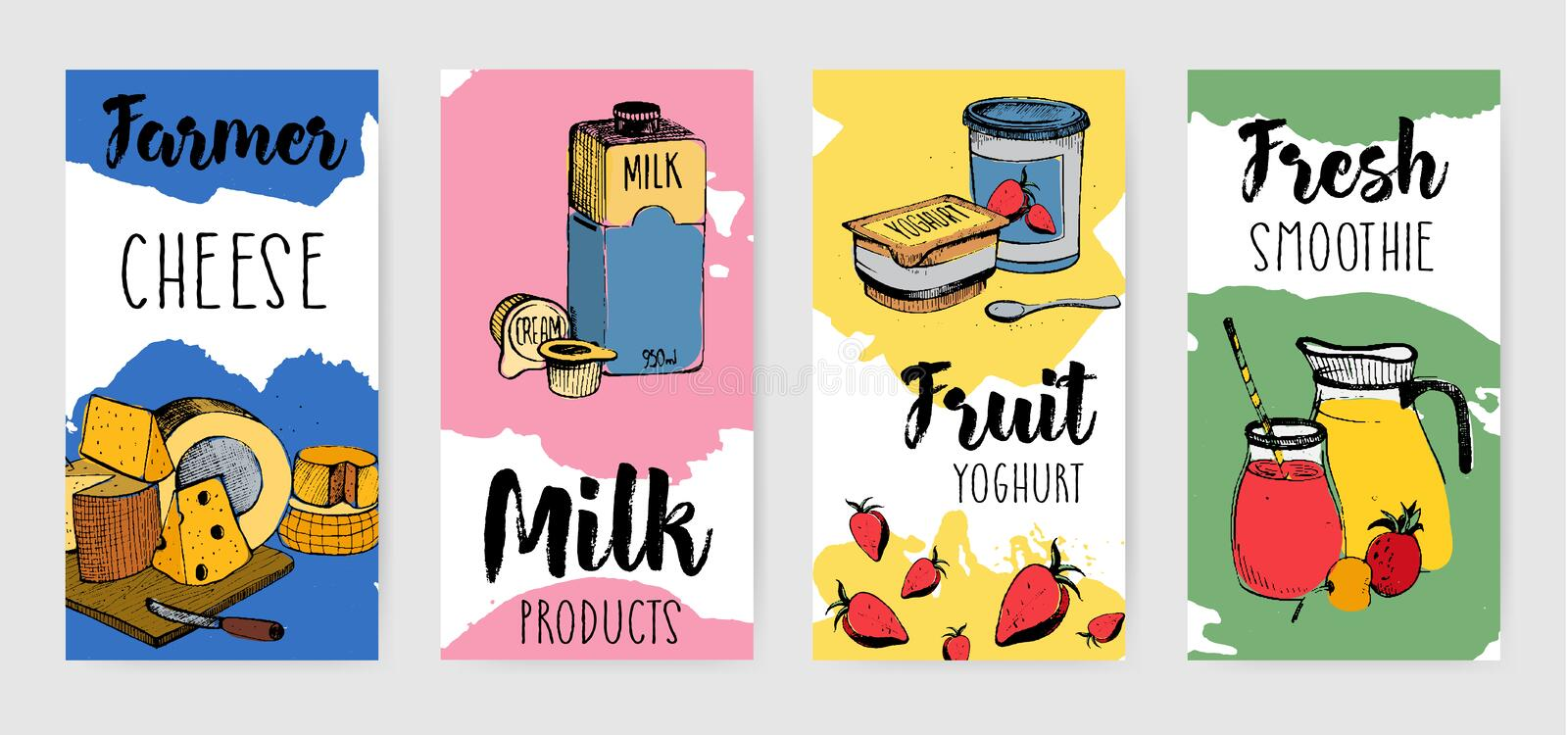 Colorful dairy products vertical advertising flyer set. Different hand drawn banner on colorful background. Vector vector illustration