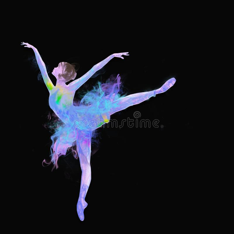 Colorful dancing ballerina stock illustration