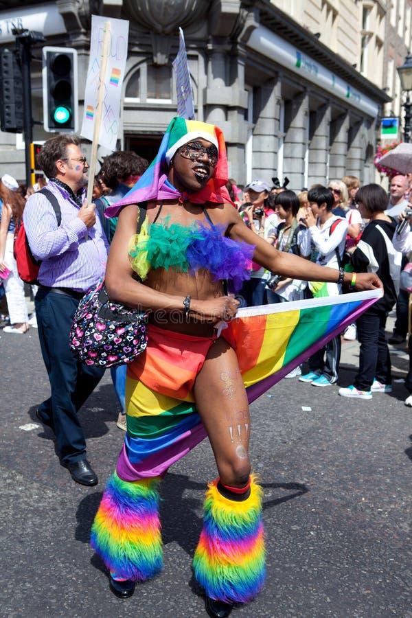 Colorful Dancing in Brighton Gay Pride 2011 stock image