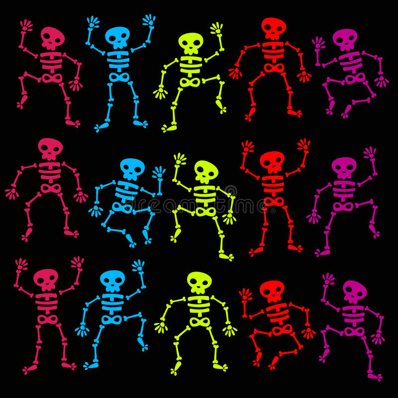 Download Colorful Dancing Skeletons stock vector. Illustration of human - 25823172