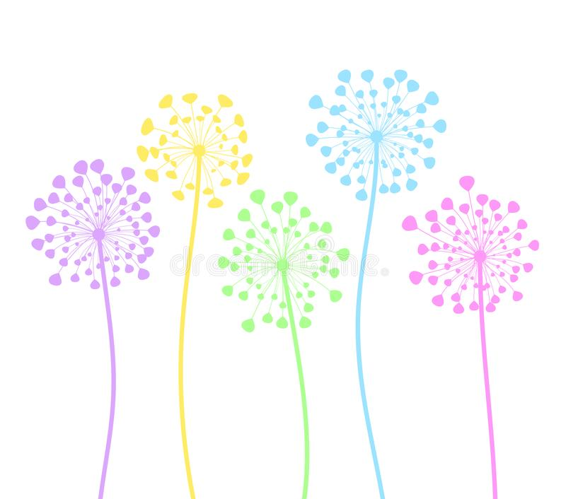 Colorful dandelion flowers in cartoon style on white, stock vector illustration royalty free illustration