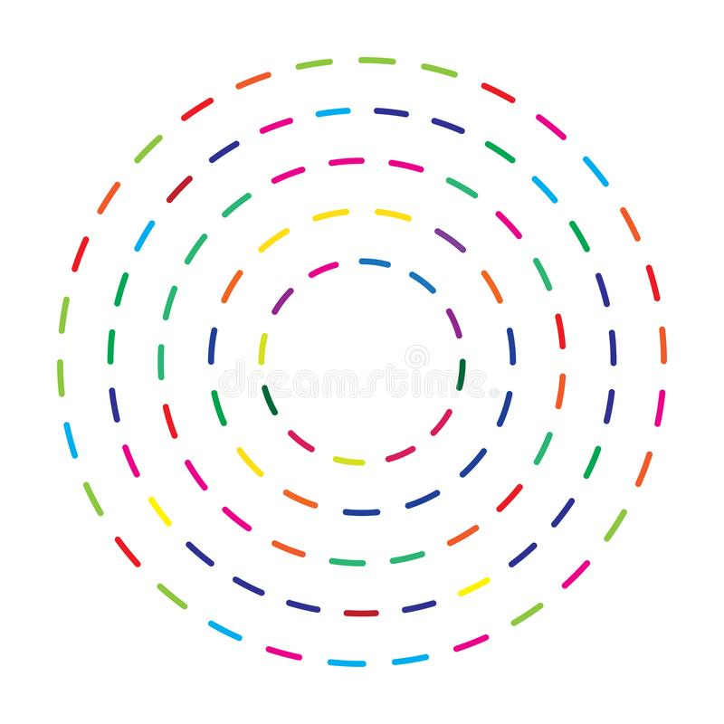 Colorful dashed random circles abstract background. Vector illustration royalty free illustration