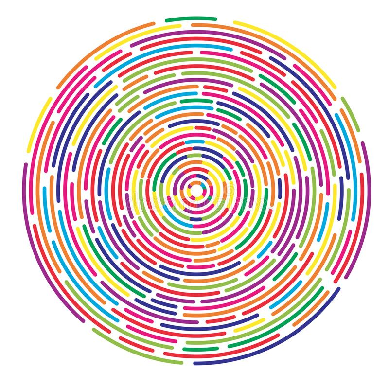 Colorful dashed random concentric circles abstract background stock illustration