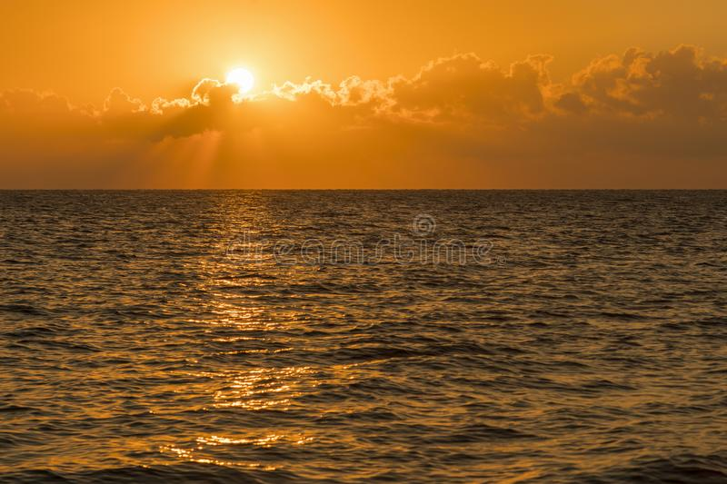Colorful dawn over the sea, Sunset. Beautiful magic sunset over the sea. Beautiful sunset over the ocean. Sunset over water royalty free stock image