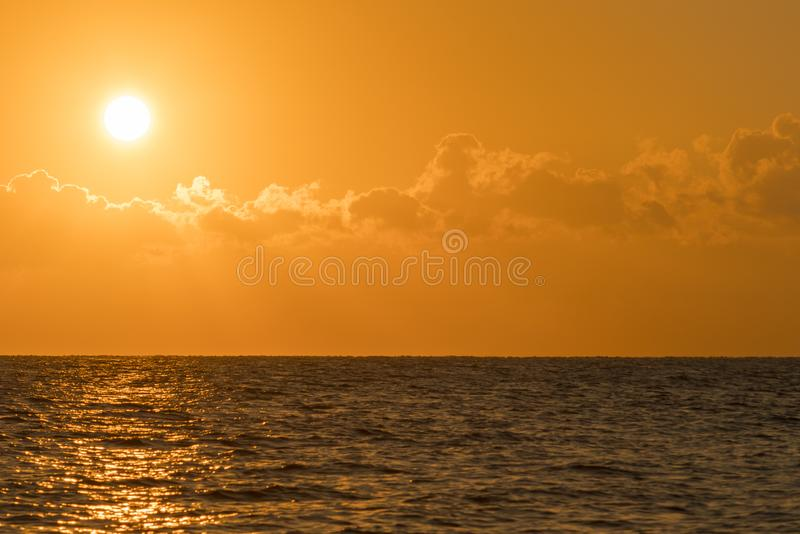 Colorful dawn over the sea, Sunset. Beautiful magic sunset over the sea. Beautiful sunset over the ocean. Sunset over water royalty free stock photography
