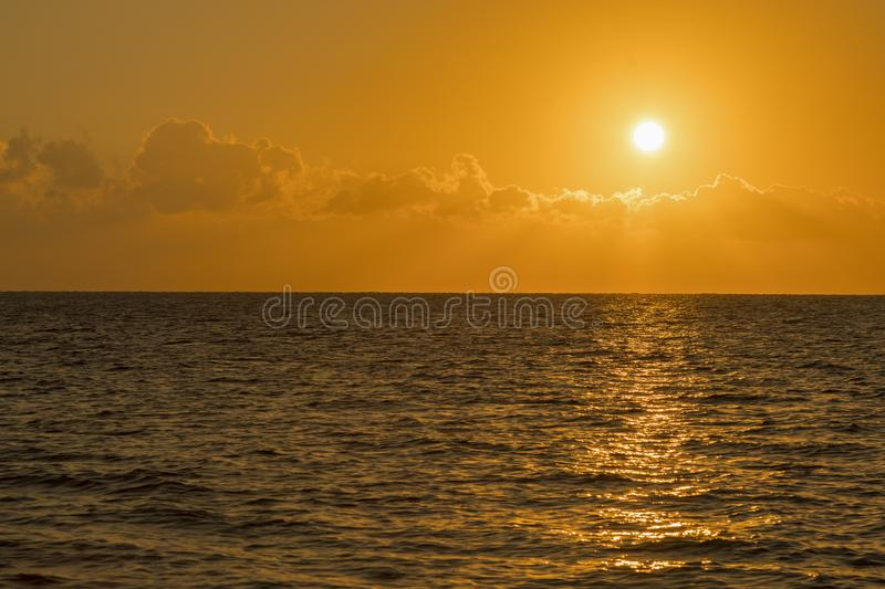 Colorful dawn over the sea, Sunset. Beautiful magic sunset over the sea. Beautiful sunset over the ocean. Sunset over water royalty free stock photo