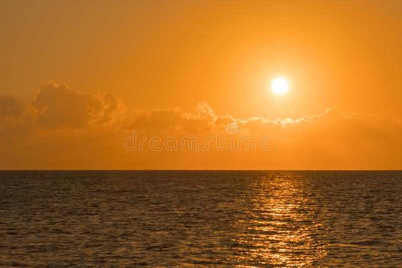 Colorful dawn over the sea, Sunset. Beautiful magic sunset over the sea. Beautiful sunset over the ocean. Sunset over water stock images