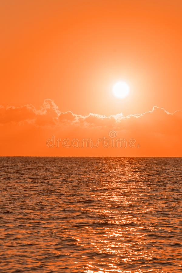 Colorful dawn over the sea, Sunset. Beautiful magic sunset over the sea. Beautiful sunset over the ocean. Sunset over water stock photography