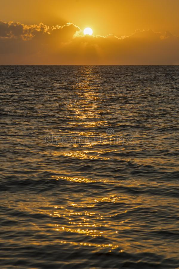 Colorful dawn over the sea, Sunset. Beautiful magic sunset over the sea. vertical photo royalty free stock image