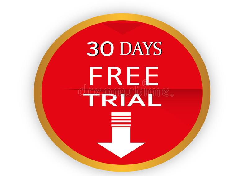 COLORFUL 30 DAYS FREE TRIAL ICON WEB BUTTON. COLORFUL 30 DAYS FREE TRIAL WEB ICON WEB BUTTON ILLUSTRATION FREE VECTOR DESGING WHITE BACK ROUND royalty free illustration