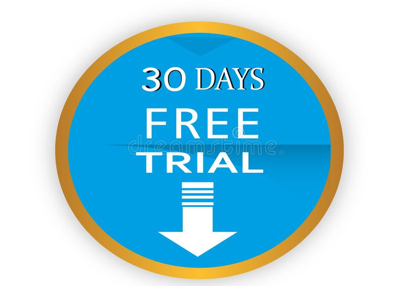 COLORFUL 30 DAYS FREE TRIAL ICON WEB BUTTON. COLORFUL 30 DAYS FREE TRIAL WEB ICON WEB BUTTON ILLUSTRATION FREE VECTOR DESGING WHITE BACK ROUND stock illustration