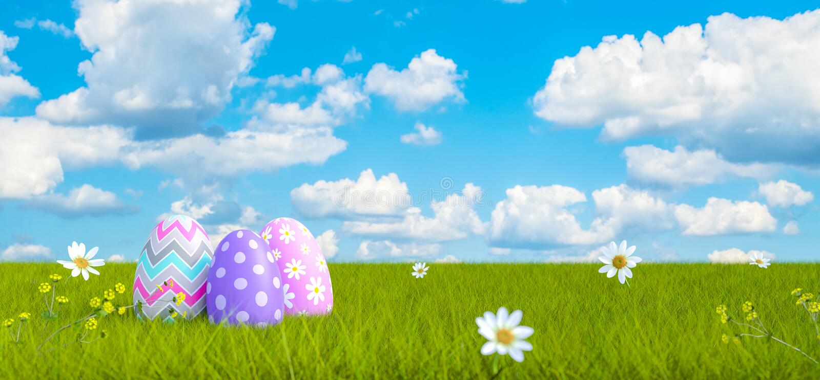 Colorful Decorated Easter Eggs on Green Meadow with Beautiful Blue Sky Clouds Background 3d render stock illustration