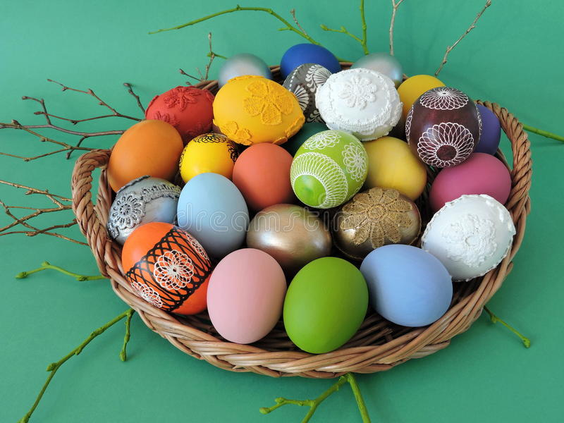 Colorful decorated Easter eggs stock photography