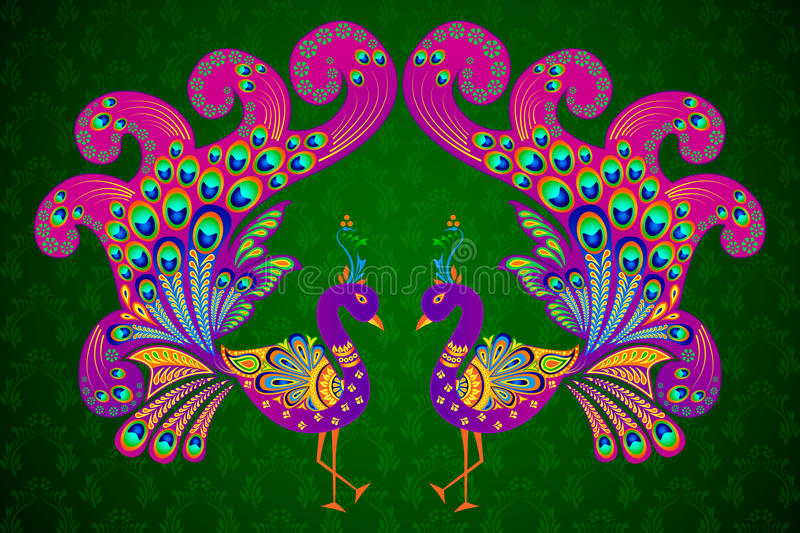 Download Colorful Decorated Peacock stock vector. Image of animal - 31934406