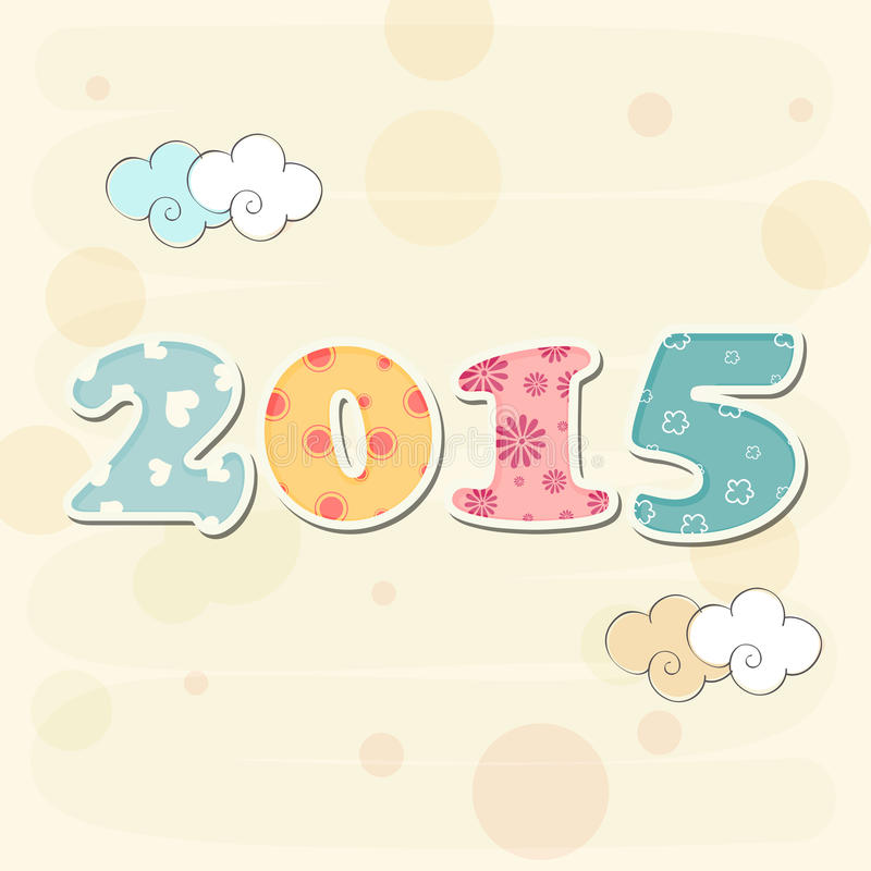 Colorful decorated text 2015 for Happy New Year 2015 celebrations concept. Colorful decorated text 2015 on stylish background for Happy New Year celebrations royalty free illustration