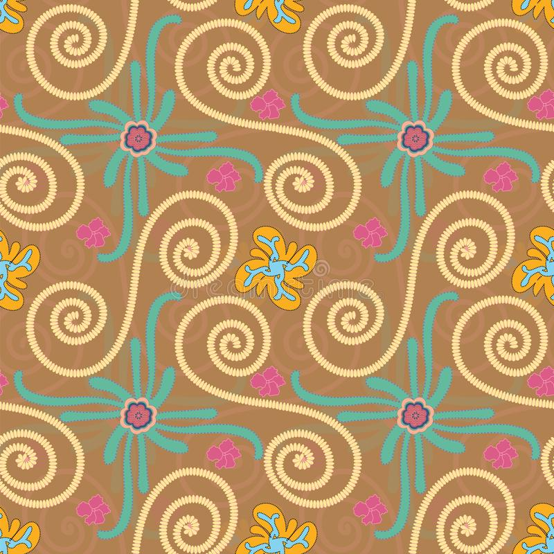 Beautiful textured and embellished swirls and flourish colorful seamless pattern tile. Colorful decorated and textured floral and embilished swirls pattern tile stock illustration
