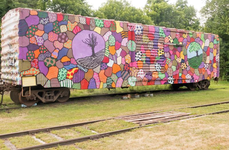 Colorful decorated trolley car stock photo
