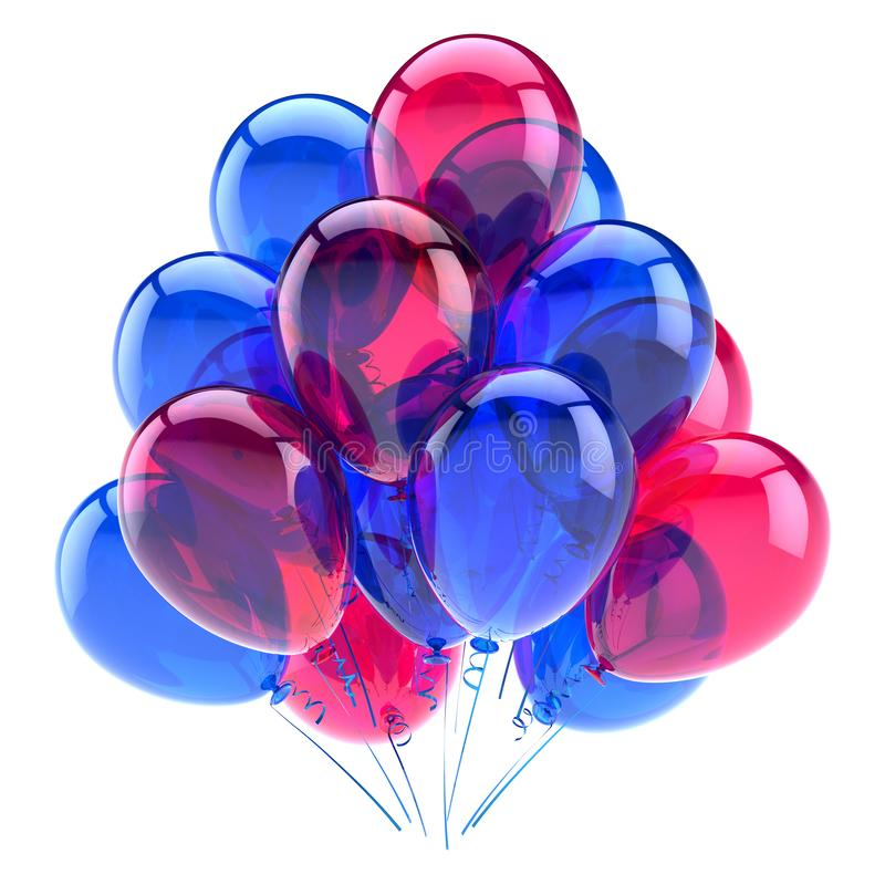 Colorful decoration for birthday party celebration. Helium balloons royalty free illustration