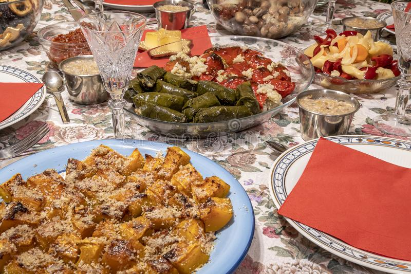 Colorful decoration table with food ready to eat. Celebrating Christmas. Colorful decoration table with food ready to eat stock photography