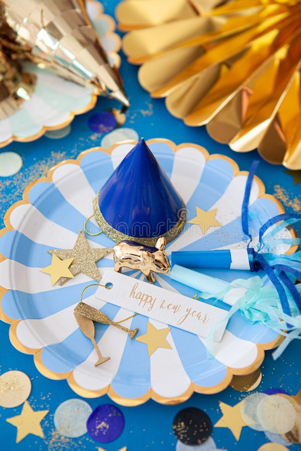 Colorful decorations for a party. Colorful decorations and props for a New Years Eve party royalty free stock photography