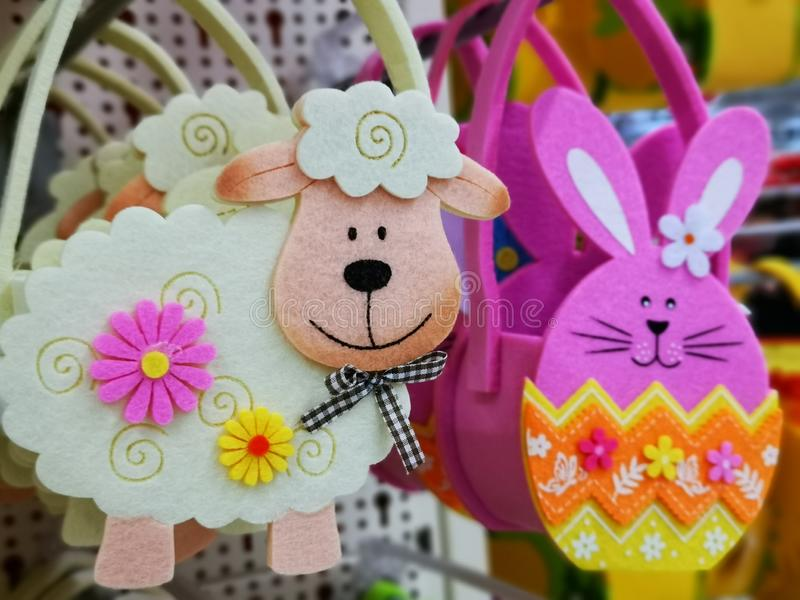 Colorful decorative figurines of felt for Easter stock photo