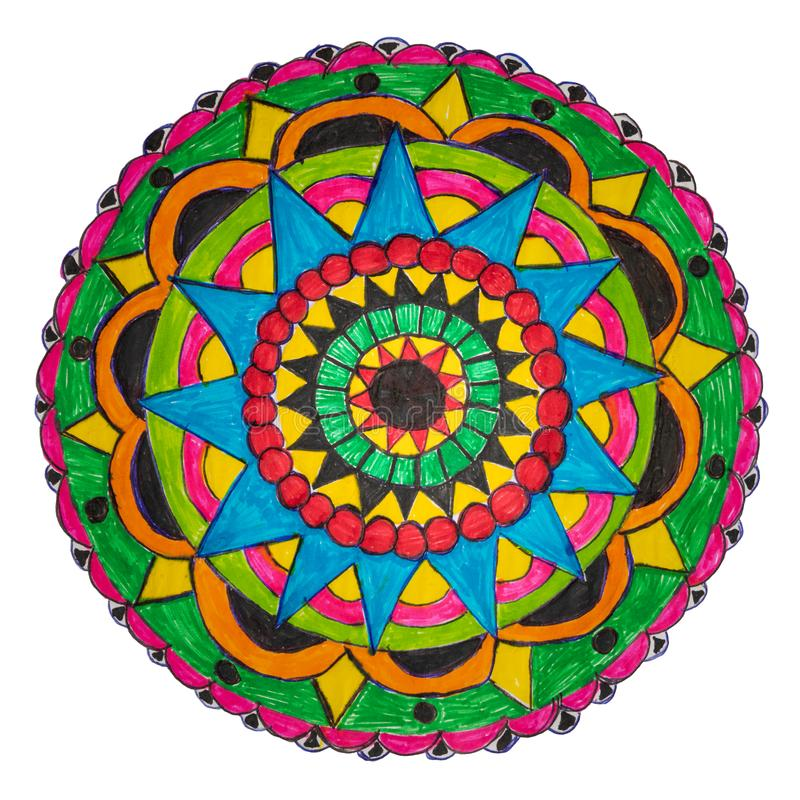 Colorful decorative hand drawn mandala pattern. Colorful oriental decorative hand drawn mandala pattern with clipping path vector illustration