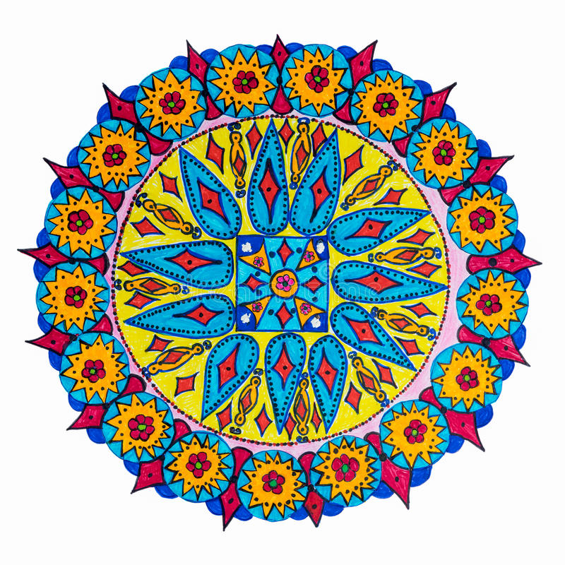 Colorful decorative hand drawn mandala pattern royalty free illustration