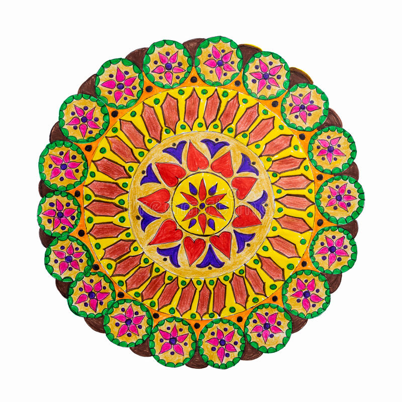 Colorful decorative hand drawn mandala pattern stock illustration