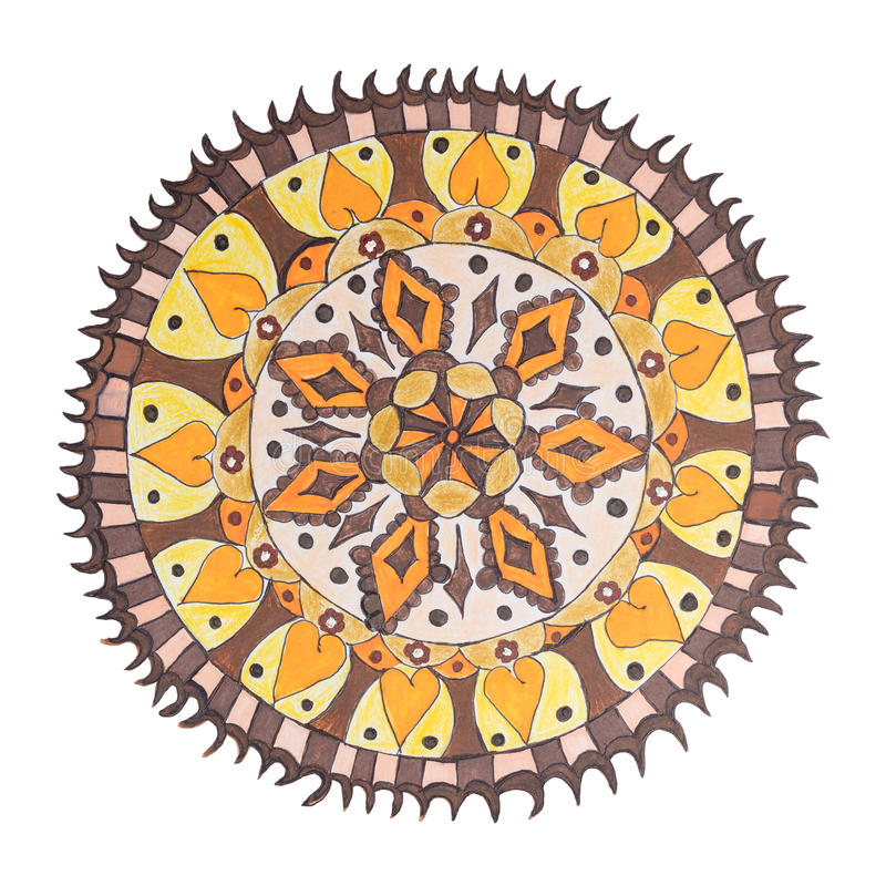 Colorful decorative hand drawn mandala pattern. Colorful oriental decorative hand drawn mandala pattern isolated on white vector illustration