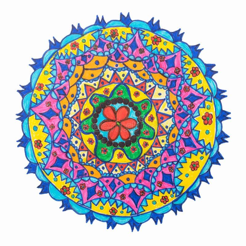 Colorful decorative hand drawn mandala pattern. Colorful oriental decorative hand drawn mandala pattern on white royalty free illustration