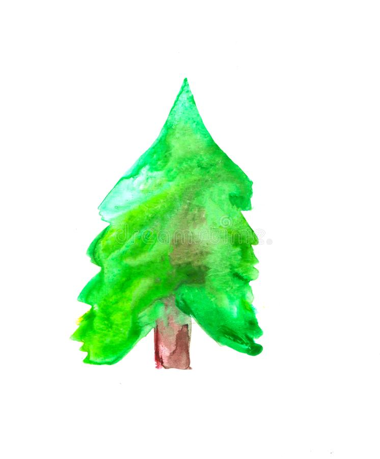 Colorful decorative illustration of fir-tree for scrapbook, banner, poster, cards. Colorful green fir-tree decorative illustration on white background for stock illustration