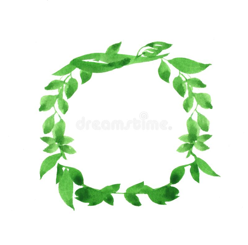 Colorful decorative illustration for scrapbook, banner, poster, cards. Green wreath. Colorful decorative illustration on white background for scrapbook, banner stock illustration