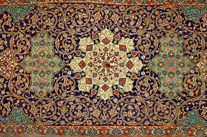 Colorful decorative mosaic on a wall of the shrine of Sayyida Kh royalty free stock photos
