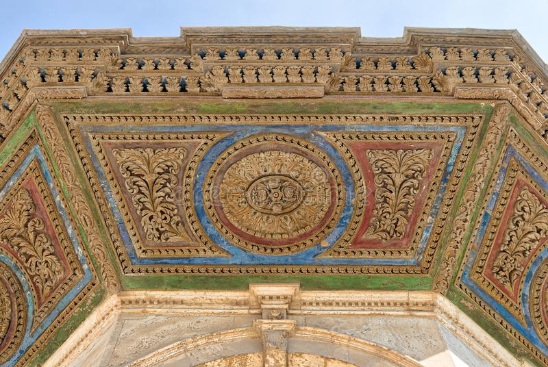 Colorful decorative panel of the ceiling of ablution fountain in front of the Great Mosque of Muhammad Ali Pasha, Citadel of Cairo stock images