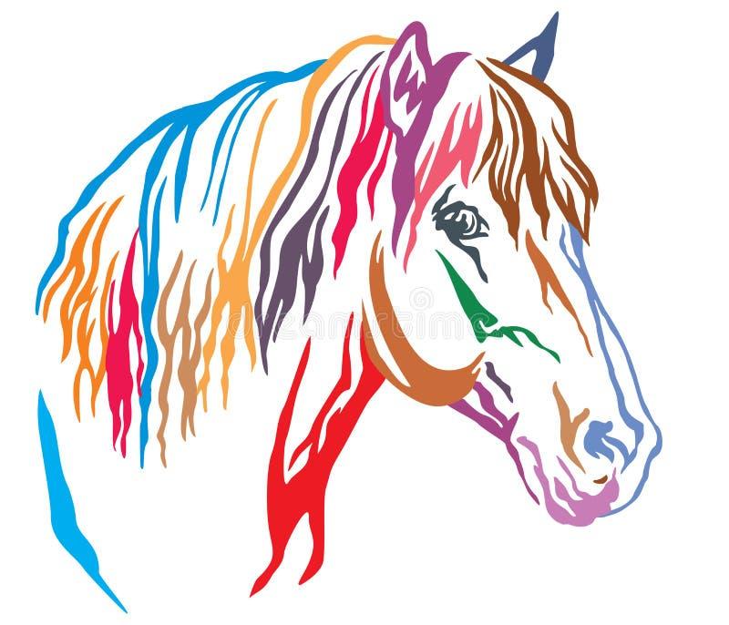 Colorful decorative portrait of horse vector illustration 8 stock illustration
