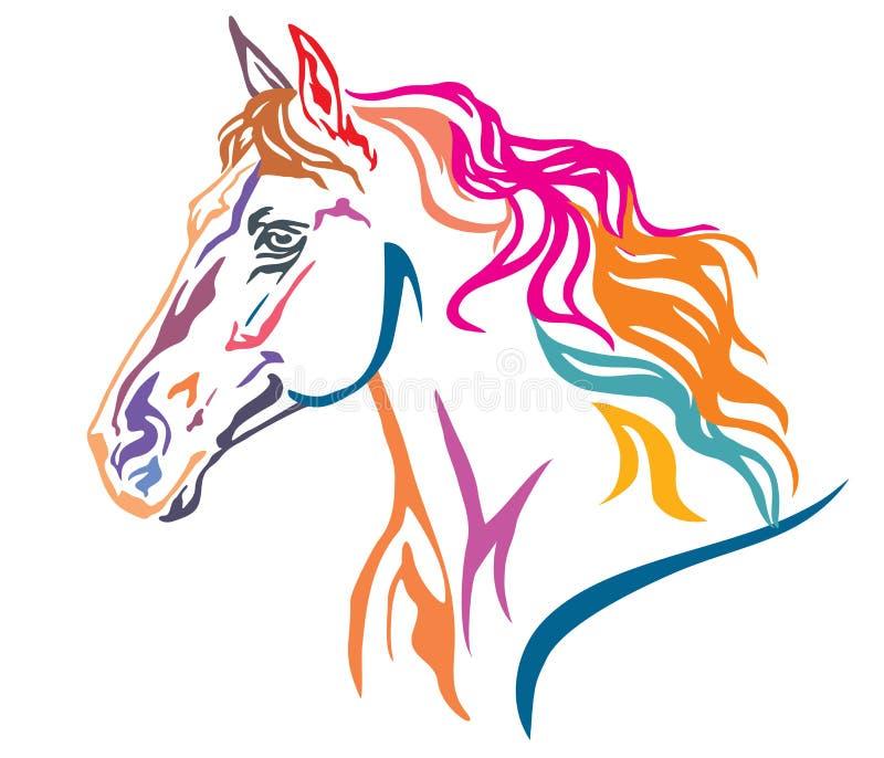Colorful decorative portrait of horse vector illustration 7 royalty free illustration