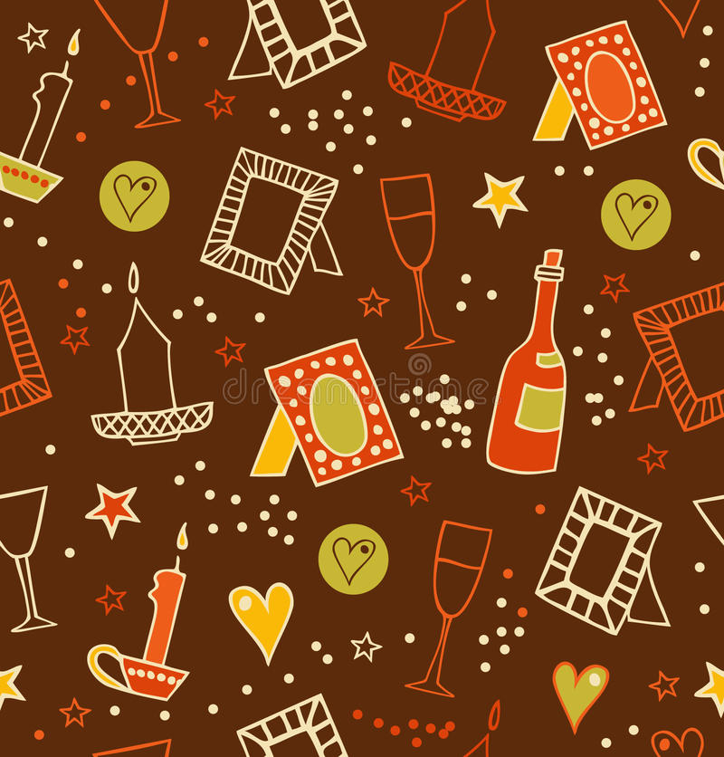 Colorful decorative seamless background with photo. Frames, candles, hearts, stars, goblets and bottles of vine. Endless drawn pattern with many details vector illustration